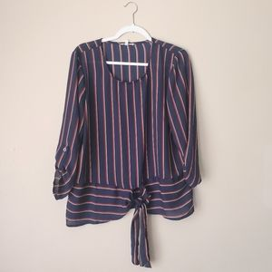 Maurices Striped Scoop Neck Long Sleeve Blouse L